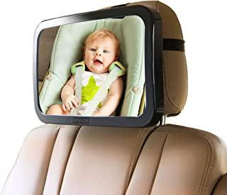 Enovoe Carseat Mirrors Rear Facing with Bonus Cleaning Cloth - Wide, Convex Back Seat Baby Mirror is Shatterproof and Adjustable - 360 Swivel Car Mirror Helps Keep an Eye on Your Infant