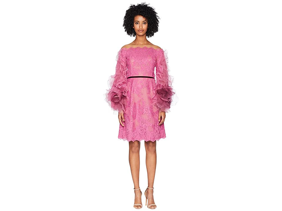 Marchesa Off the Shoulder Corded Lace Cocktail w/ Tulle Sleeves (Azalea) Women