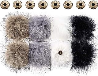 Faux Fuchs Pelz Flauschige Pompon Ball für Hut mit Abnehmbarem Druck Knopf für Stricken Hut Schuhe Schals Tasche (Farbe A,...