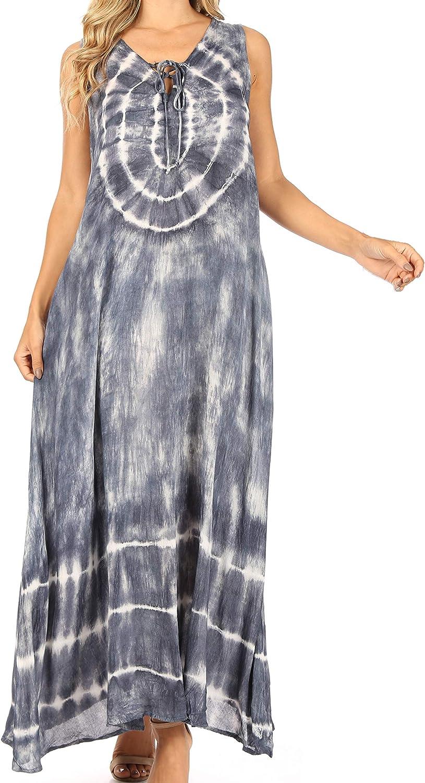 Sakkas Leonor Women's Maxi Sleeveless Tank Long Print Dress with Pockets and Ties