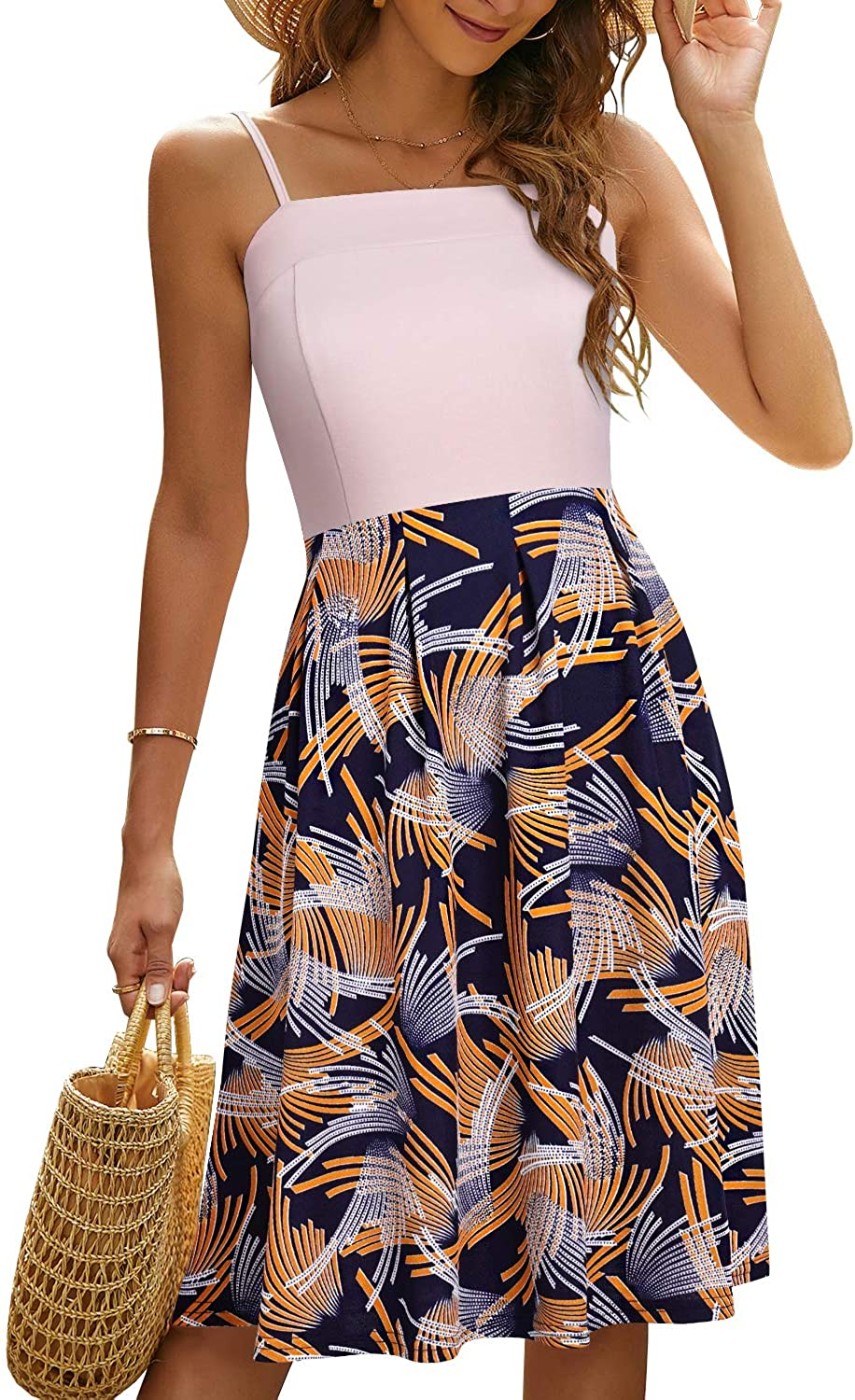 YATHON Summer Dresses for Women Casual Party Swing Dress Spaghetti Strap Sundress for Women with Pockets