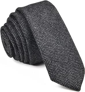 VOBOOM Mens Necktie Skinny Tie Tweed Pattern Woolen Neck Tie-many colors