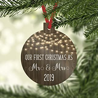 Our First Christmas as Mr and Mrs 2019 Christmas Ornament with Faux Wood and Farmhouse White Lights