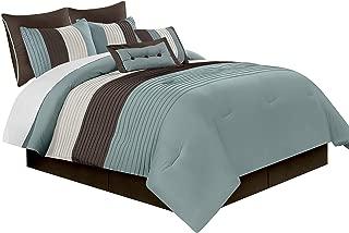 Chezmoi Collection 90 x 92-Inch 8-Piece Luxury Stripe Comforter Bed-in-a-Bag Set, Blue/Beige/Brown, Queen