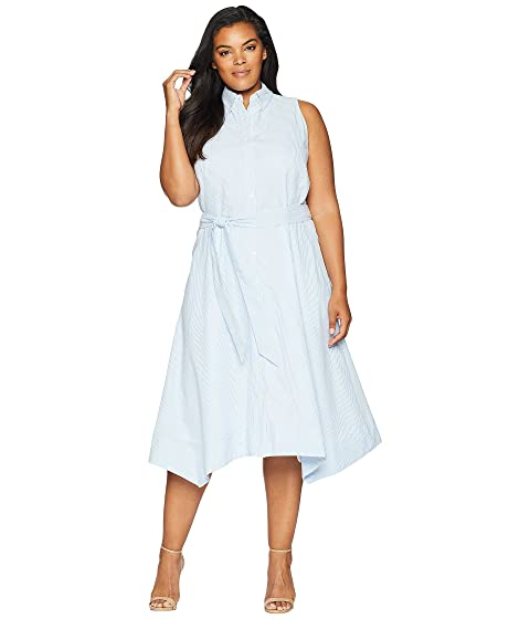 Tahari By Asl Plus Size Seersucker Shirtdress At Zappos