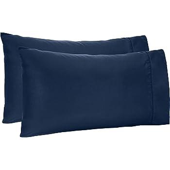 2er Set Pillowcase Pillow Case Pillow Cover 40x80cm Navy Blue Plain Microfibre