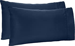 AmazonBasics Light-Weight Microfiber Pillowcases - 2-Pack, Standard, Navy Blue