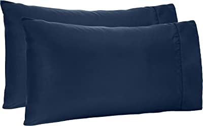 Amazon Basics Lightweight Super Soft Easy Care Microfiber Pillowcases - 2-Pack, Standard, Navy Blue