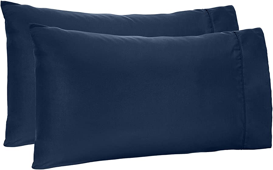AmazonBasics Microfiber Pillowcases - 2-Pack, Standard, Navy Blue smlztxbi93824