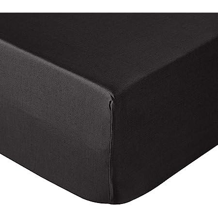 Amazon Basics Drap-housse satiné, 160 x 200cm, Noir