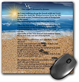 3dRose Footprints in The Sand on Beach with Poem - Mouse Pad, 8 by 8 inches (mp_204469_1)