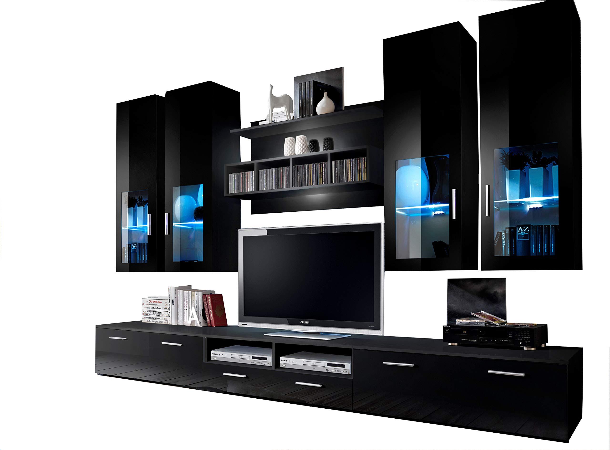 Concept Muebles Presto Moderna Unidad de Pared/Centro de Entretenimiento/Espacioso y Elegante Muebles/Muebles de TV/Soportes de TV para Salón Moderno (Negro): Amazon.es: Hogar