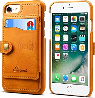 Wallet Cover Case for iPhone 7 8 6 4.7 inches Apple,Khaki Leather ID Credit Card Slot Slim Shell