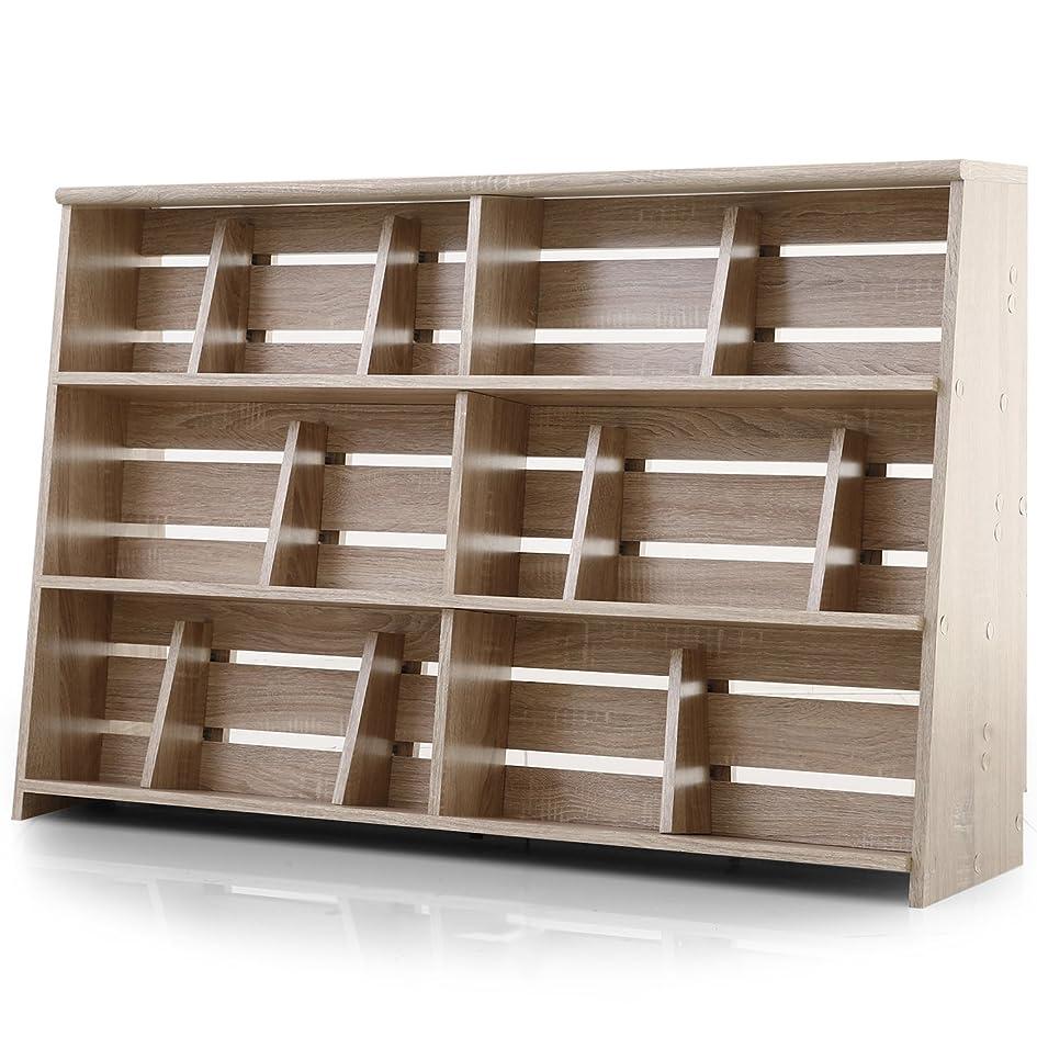 嫌いそんなにボットLOWYA (ロウヤ) 本棚 マンガ収納 スライド&ディスプレイ ブックエンド 木製 リアル木目 ワイドタイプ 幅120 下段 単品 ナチュラル おしゃれ 新生活