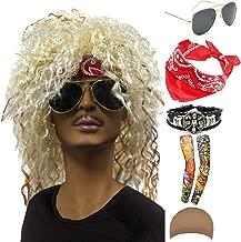 70s 80s 90s Men's Disco Halloween Rock Star Heavy Metal Wig Set Packet of 6