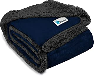 PetAmi Waterproof Dog Blanket for Bed Couch Sofa | Waterproof Dog Throw Bed Cover for Large Dogs Puppy | Navy Grey Sherpa ...