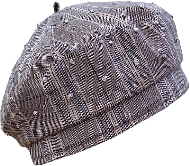 Classical Plaid Berets for Women Beanies Hats Rhinestones French Hat Ladies Winter Cap Adjustable Caps