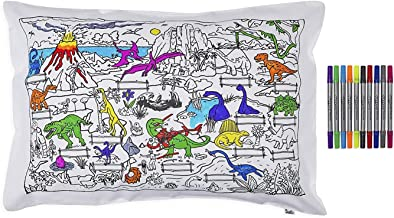 Dinosaur Pillowcase - Doodle Pillow Case for Children - Kid's Dinosaur Coloring Pillowcase with Washable Fabric Markers