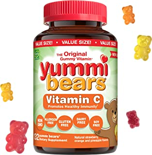 Yummi Bears Vitamin C Chewable Gummy Vitamin Supplement for Kids, 132 Count (Pack of 1)
