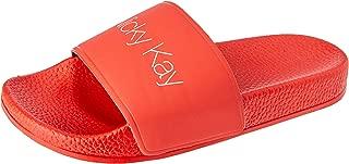 Nicky Kay Slides Women's Slippers, Red, 8 US