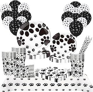 DISRUB Dog Paw Prints Birthday Party Supplies, 81PCS Dog Disposable Tableware Includes Dog Paper Plates Cups Napkins Ballo...