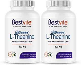 L-Theanine 200mg with Patented and Clinically Studied Suntheanine (120 Vegetarian Capsules) (2 x 60) No Stearates - No Flow Agents