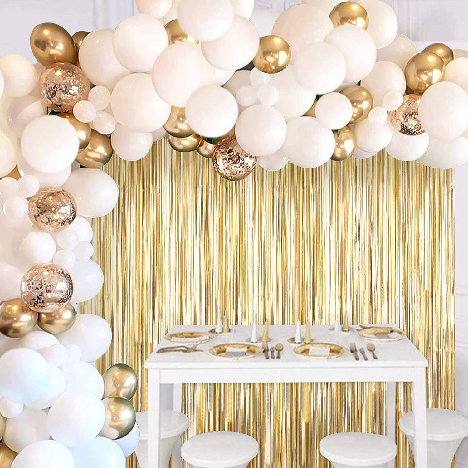 JOYYPOP White Gold Balloon Garland with Curtain Outlet SALE Kit 5 popular Tinsel