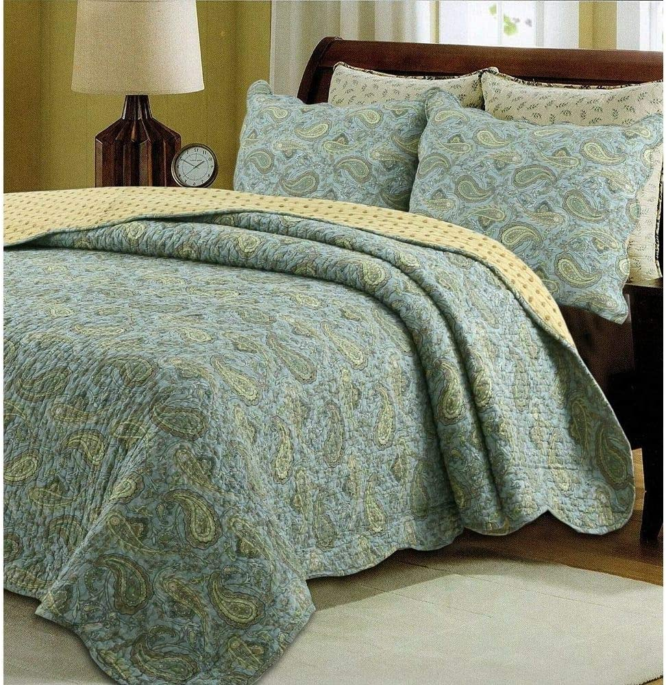 TRP Free shipping on posting reviews 3 Piece Country Cottage Style Fort Worth Mall Green All Set Quilt Seas Blue