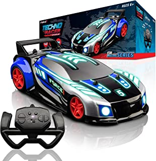 Force1 Techno Racer Remote Control Car for Kids - LED Light RC Car, High Speed Race Drift RC Car Toy with Music, Toy Car w...