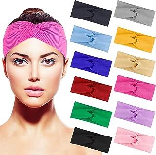 Duufin 12 Pcs Cross Headbands Cross Head Wrap Hair Band Knit Cross Knot Headband for Woman, 12 Colors