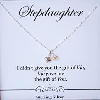 Stepdaughter Necklace - For Birthday, Wedding or Special Occasion Gifts from Stepmom or Stepdad – Sterling Silver Dainty Heart Pendant with Swarovski Crystal Pearl Necklace Present