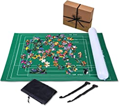 Jaques of London Puzzle Mat UP TO 2000 Pcs - Puzzle Mat with Foldable Cloth - Jigsaw Puzzle Roll - Roll Up Mat with Easy-Catch Fastening Baize Material and FREE storage case