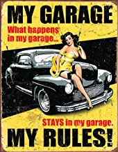 Desperate Enterprises Legends - My Garage My Rules Tin Sign, 12.5