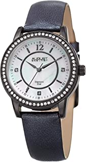 August Steiner Women's Off White Dial Leather Band Watch - As8227Bk, Analog Display