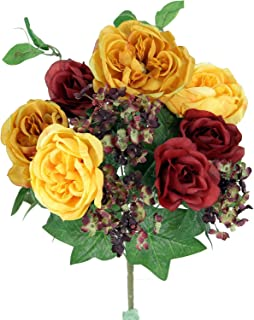 Admired By Nature 14 Stems Artificial Blooming Rose and Hydrange Ivy Flowers Bush Home, Office, Hotel and Bridal Wedding Arrangement Decoration GPB5425, Jewel Mix, Piece