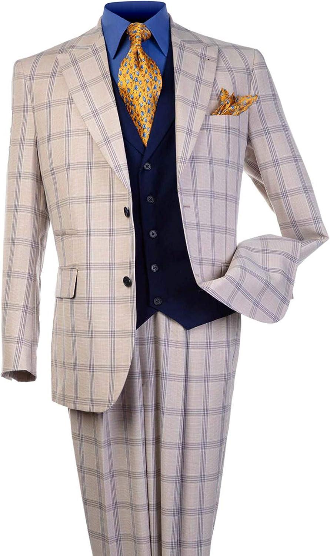 Steve Harvey Men's 3 Piece Plaid Classic Fit Suit with Contrasting Vest and Single Pleat Pant