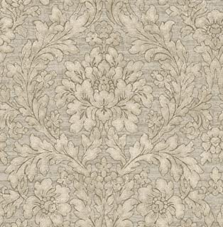 Vintage Floral Wallpaper Damask Arts and Crafts Silver Gray Bronze Rorschach Design
