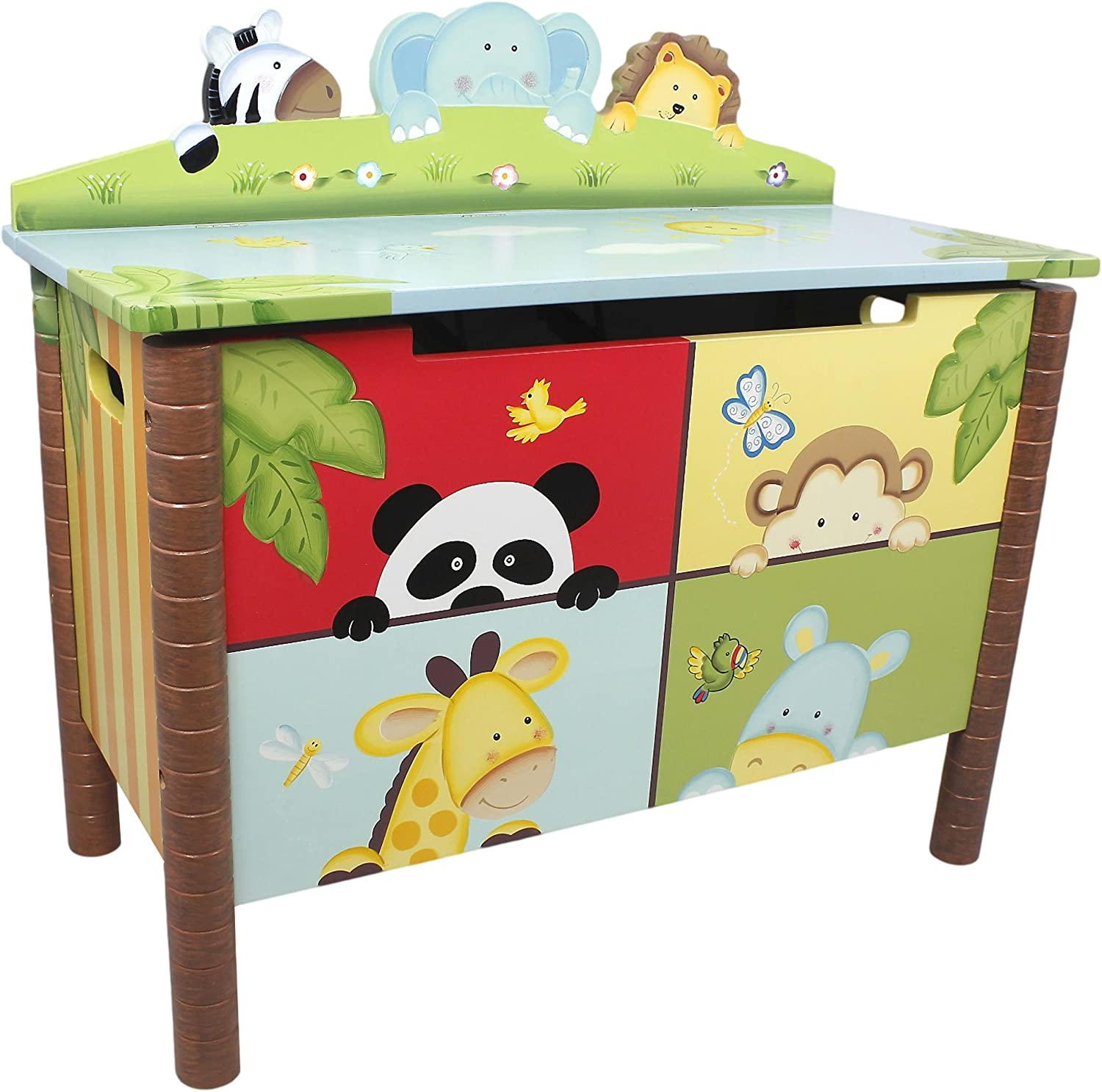 Fantasy Fields - Sunny Safari Animals Thematic Kids Wooden Toy Chest with Safety Hinges   Imagination Inspiring Hand Crafted & Hand Painted Details   Non-Toxic, Lead Free Water-based Paint