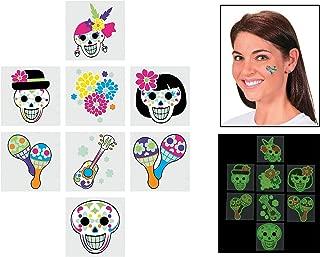 Day of the Dead Glow in the Dark Temporary Tattoos (6 Dozen Per Unit)