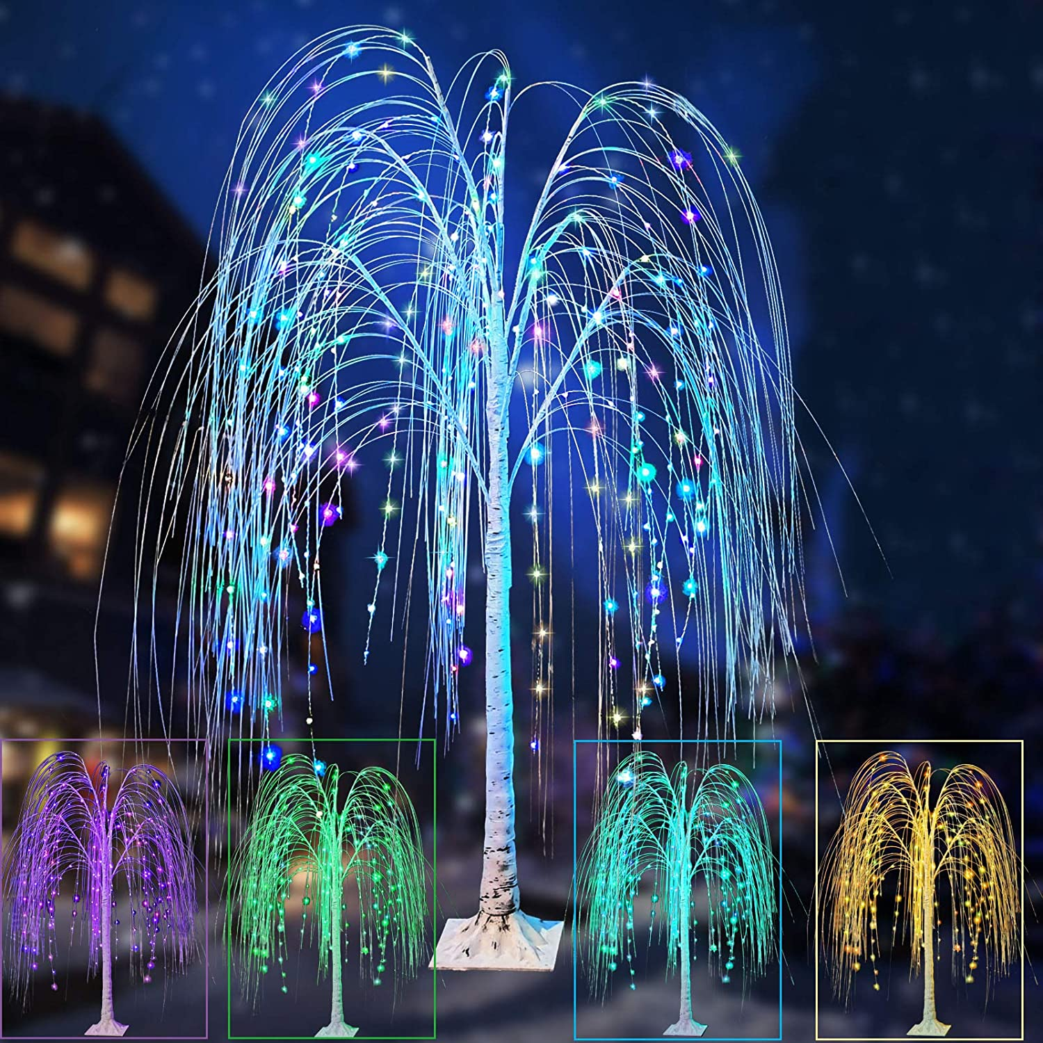 Colorful 55% OFF LED Weeping Willow Tree Lights Lighted Overseas parallel import regular item Changing Color