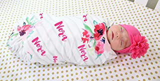 Personalized Baby Blanket and Headband Set Personalized Swaddle Blanket Baby Girl Receiving Blanket Monogram Baby Blanket Baby Girl Blanket