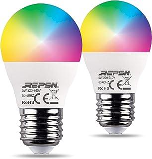 Bombillas inteligentes de Repn® RGB, E27, WiFi, compatible con Alexa Google Home Echo, 500 lm, cambio de color, con control por aplicación, regulable, no requiere concentrador, 2 unidades