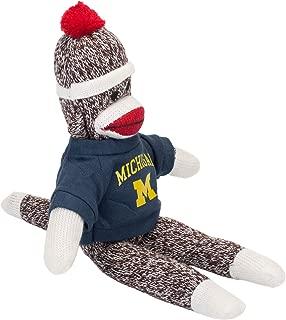 Pennington Bears Michigan Sock Monkey Blue and Gold 10 x 5 Plush Figure Stuffed Animal