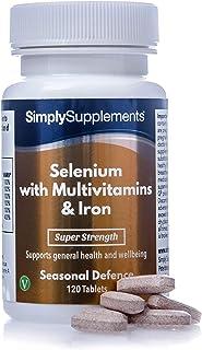 Selenio 220 mcg con Vitamina C. Multivitaminas y Hierro - ¡Bote para 4 meses! - Apto para Vegetarianos - 120 Comprimidos - SimplySupplements