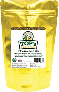 TOP's All in One Seed Mix for Large Birds, Non-GMO, Peanut Soy & Corn Free, USDA Organic Certified, 1lb
