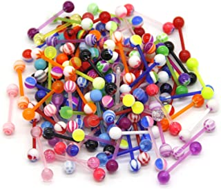 CrazyPiercing 100Pcs 14G Acrylic Tongue Rings, Multi Color Assortment Flexible Tongue Rings Barbells Mix Piercing