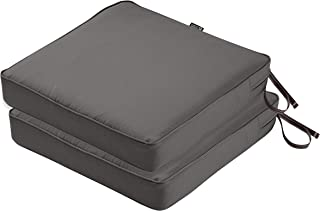 Classic Accessories Montlake FadeSafe Patio Seat Cushion, 2-Pack, Light Charcoal, 19