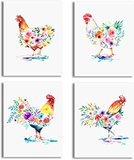 Vogue Homes Rooster Chicken Prints - Set Of 4 (8x10) Unframed Chicken & Rooster Farm Animal Decor & Country Wall Decor Pic...