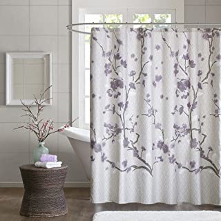 Madison Park Holly Modern Cotton Fabric Long, Floral Shower Curtains for Bathroom, 72 X 72, Yellow, Purple