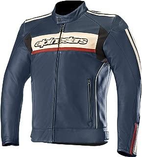 Dyno V2 Leather Street Motorcycle Jacket (54 EU, Navy Stone Red)